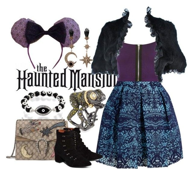 """""""Disney Inspired Outfits: The Haunted Mansion"""" by morganautical ❤ liked on Polyvore featuring Maje, WearAll, Bling Jewelry, Roberto Cavalli, Gucci, Alexis Bittar, Jeffrey Campbell, disneybound, DisneyWorld and hauntedmansion"""
