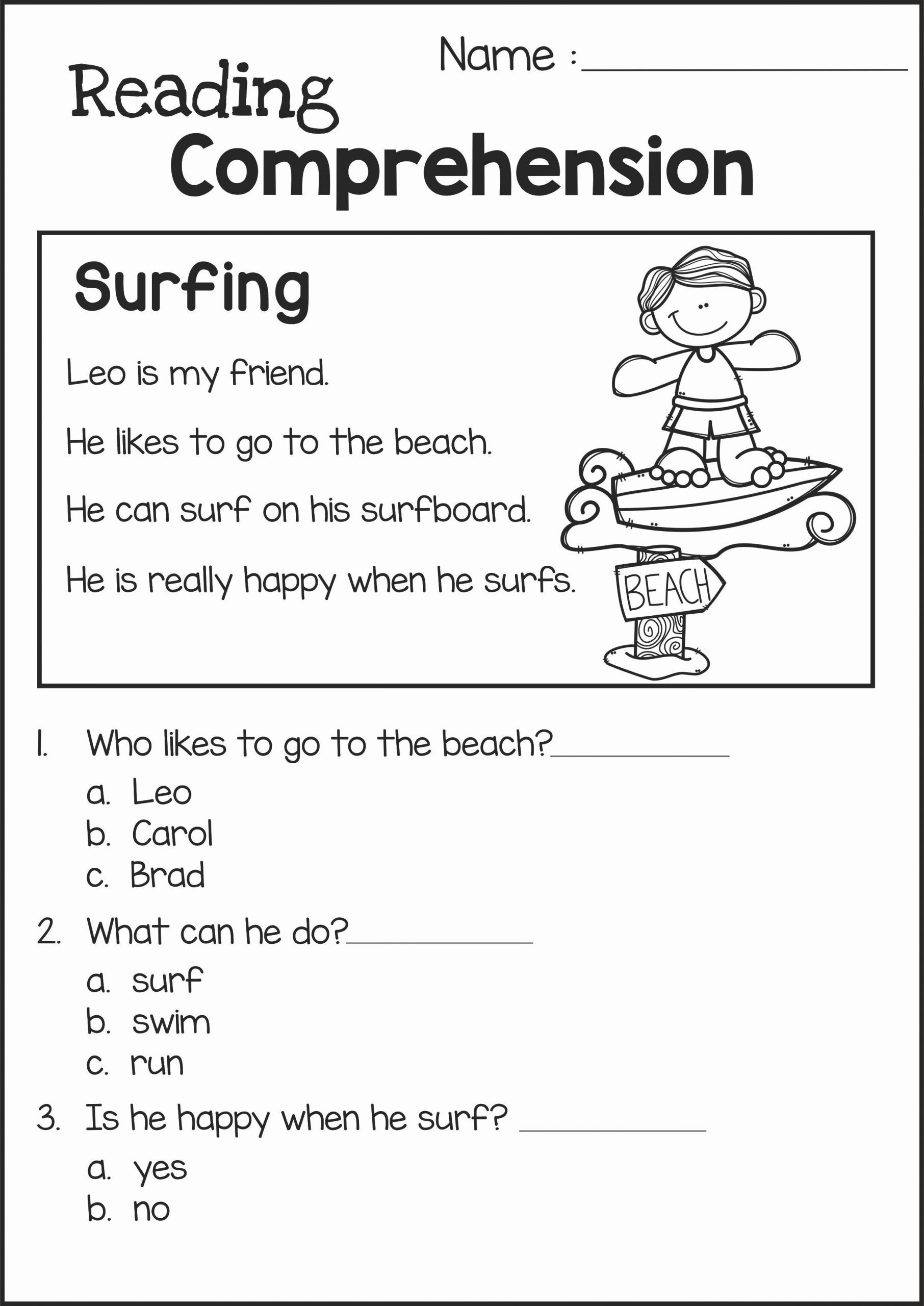 Reading Worksheet For Kindergarten 2 In