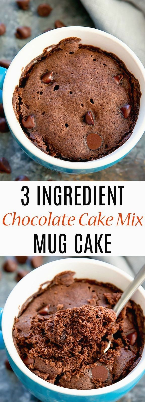 An easy mug cake that uses cake mix and cooks in the ...