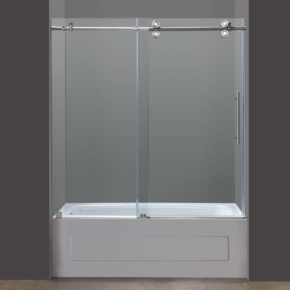 Aston Langham 60 In X 60 In Completely Frameless Sliding Alcove Tub Door In Stainless Steel Shower Doors Bathtub Doors Tub Shower Doors