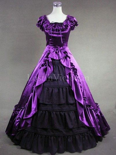 Purple and Black Colonial Inspired Victorian Dress Masquerade Gothic ...
