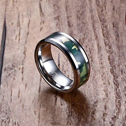 His AND Her 6mm 8mm Camo Men Women Hunting Tungsten Engagement Wedding Ring Set