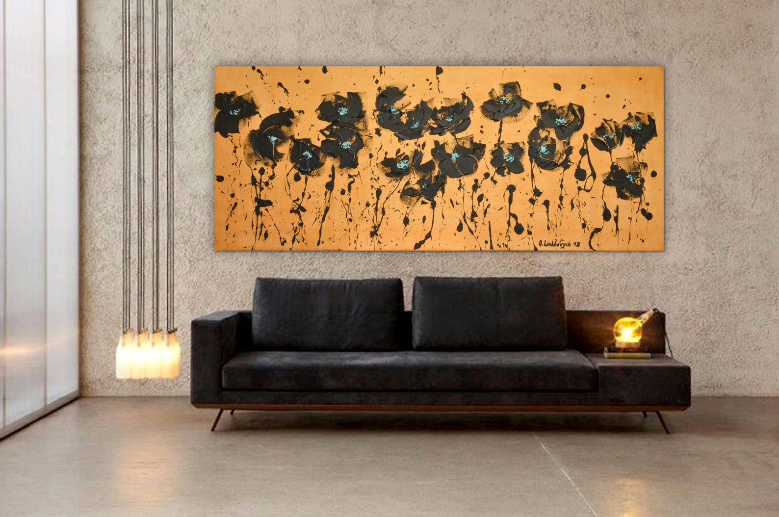 Oversized Wall Art Above Bed Art Narrow Horizontal Palette Etsy Extra Large Wall Art Horizontal Painting Oversized Wall Art