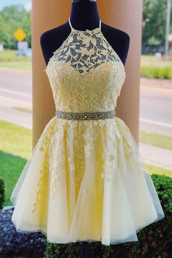 Halter Appliqued Beaded A-line Tulle Cute Homecoming Dress Short Prom Dress #homecomingdresses