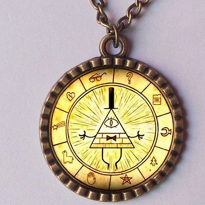 Anime Gravity Falls Bill Cipher Boss Necklace Pendant /& Ring With Woodbox