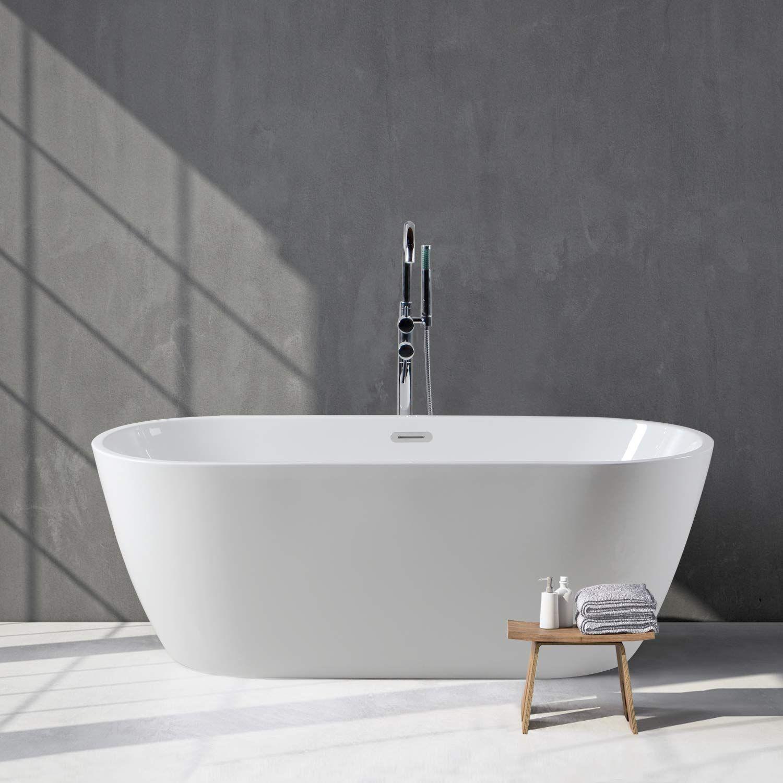 Ferdy 59 Acrylic Freestanding Bathtub White Modern Stand Alone Bathtub Soaking Bathtub Easy To In Small