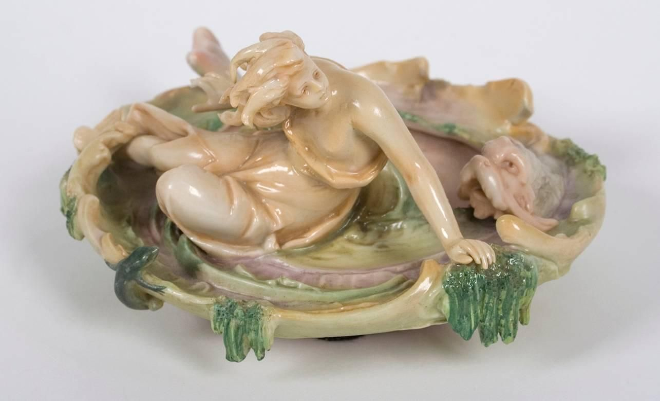 German Art Nouveau Period Porcelain Sea Nymph Dish by Volkstedt, circa 1894-1918 | From a unique collection of antique and modern bowls and baskets at https://www.1stdibs.com/furniture/decorative-objects/bowls-baskets/