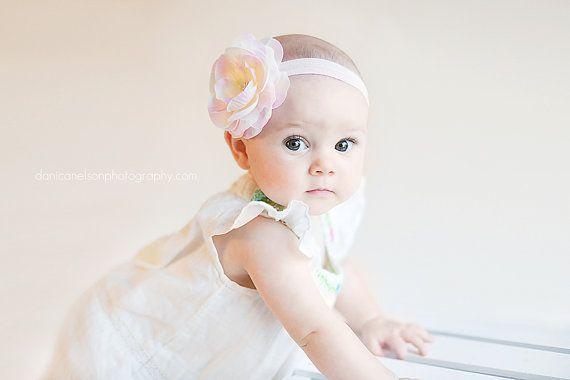 Baby Babies Babys Girls Girly HEADBAND HEADBANDS pink white cream flower