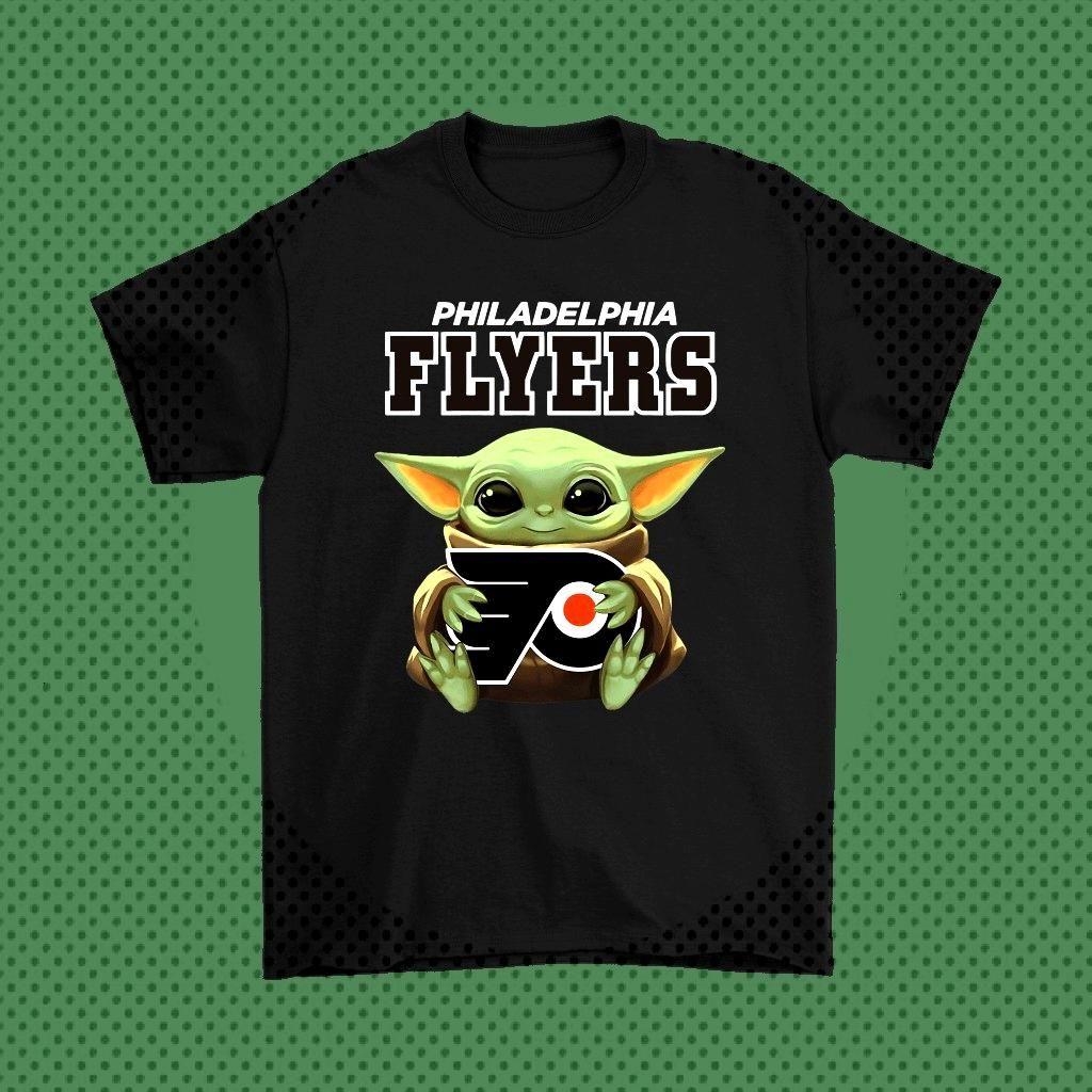 Baby Yoda Hugs The Philadelphia Flyers Ice Hockey Shirts - Potatotee Store   Star Wars Theme– B