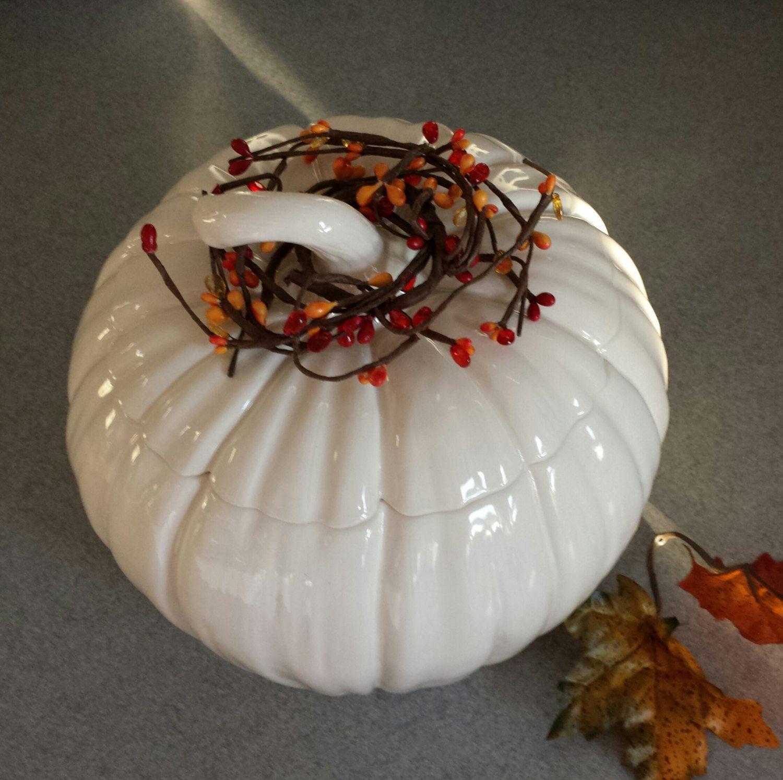 Ceramic White pumpkin cookie jar Wedding decoration Thanksgiving