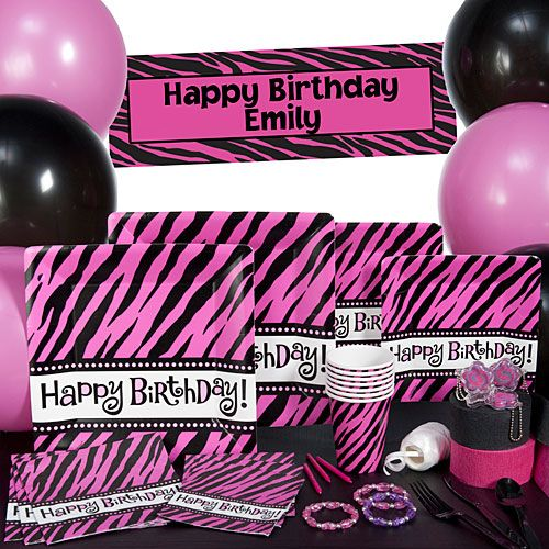 Make your zebra print party tables oh so fabulous with hot pink and