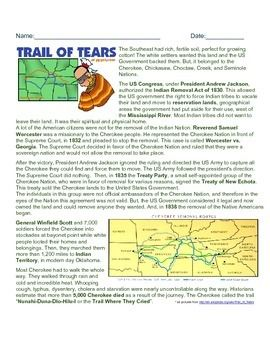This A Brief History Of The Trail Of Tears Along With Questions
