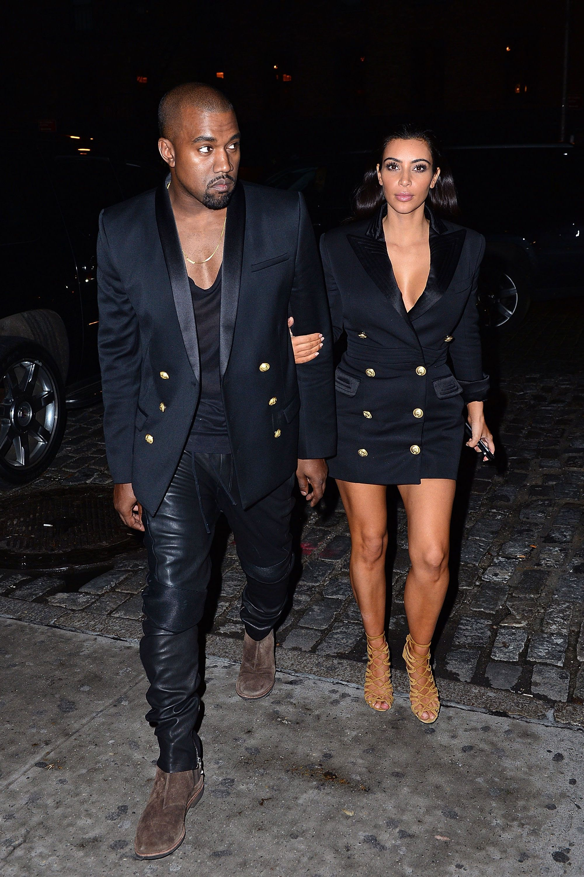 f2f97ec3bb5a6 What  The couple stepped out for dinner in matching Balmain jackets. When   November 2014 Where  NYC - HarpersBAZAAR.com
