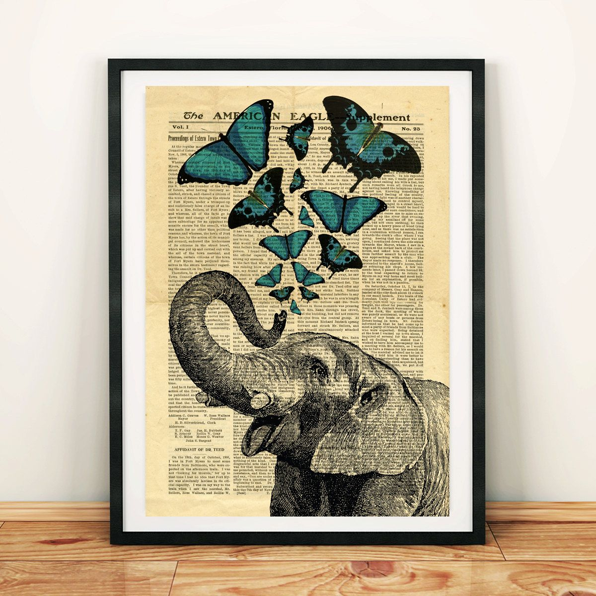 Elephant Jumbo Circus Butterfly Collage Old Newspaper Vintage ...