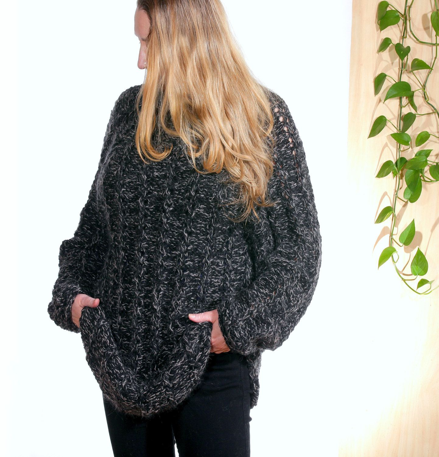 Oversize Plus size loose knit sweater Black Casual long sleeves ...