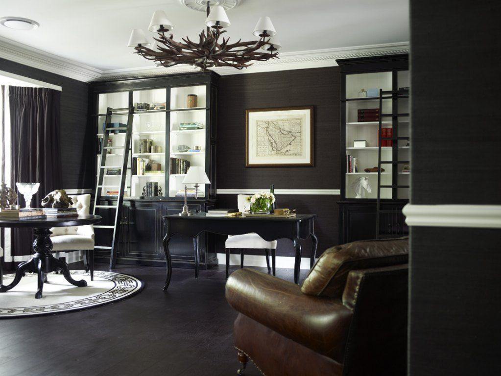 Charcoal Grey Walls For Home Office. Chair In Forefront Would Look Better  In Taupe Or