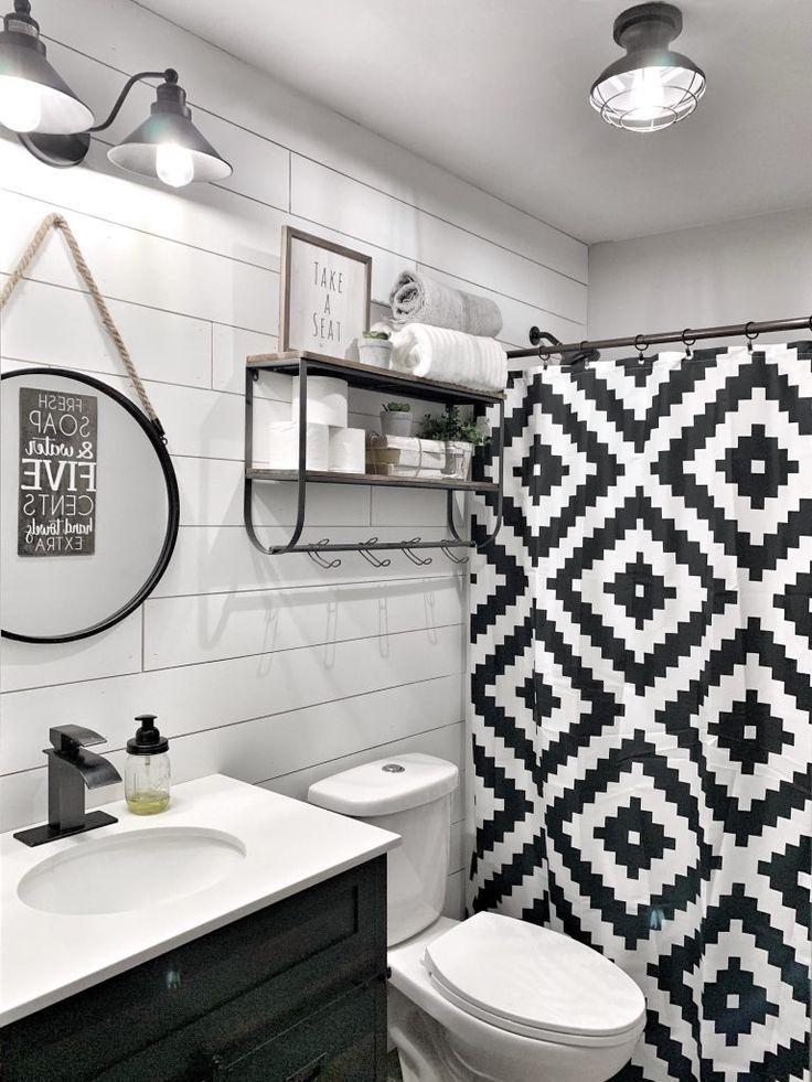 farmhouse bathroom style decor black and white shiplap bathroom decor tour