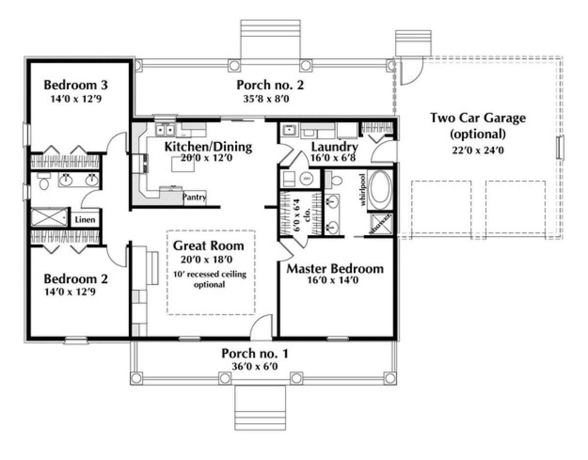 House Plan 1776 00031 Country Plan 1 629 Square Feet 3 Bedrooms 2 Bathrooms In 2021 House Plans One Story Ranch Style House Plans Country House Plans