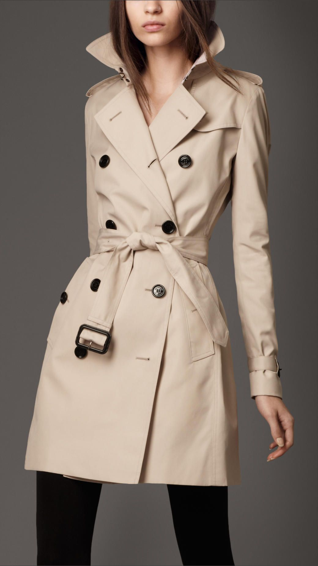 Burberry London womens double breasted short trench coat 1 ...