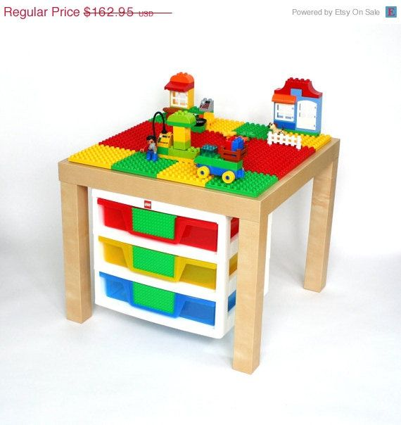 Duplo Table with 3 Drawer Organizer. 20 x 20 by VineStreetMaker ...