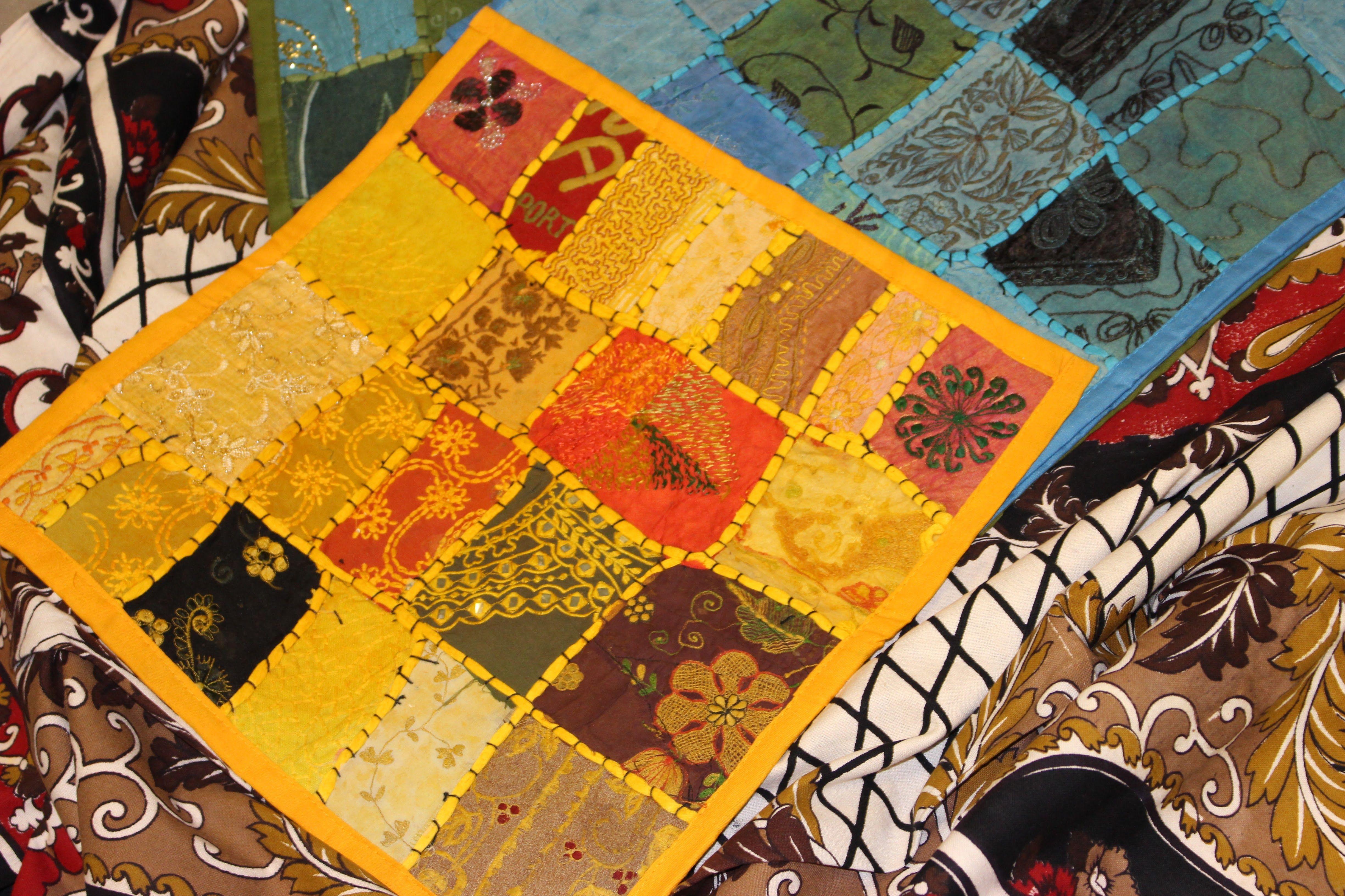 Mogul Interior Moroccan Tapestry Hand Embroidered Mirrorwork Banjara ...