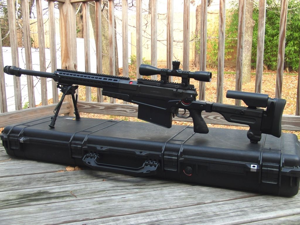 Accuracy International AX50 A large bolt-action 50 caliber rifle