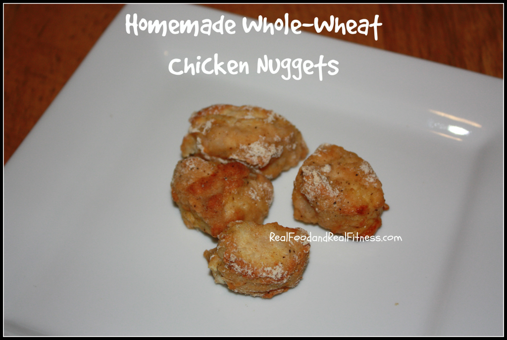 Homemade Whole-Wheat Chicken Nuggets Recipe.  My family loves these for dinner and they are so easy. #realfood #cleaneating #wholewheat