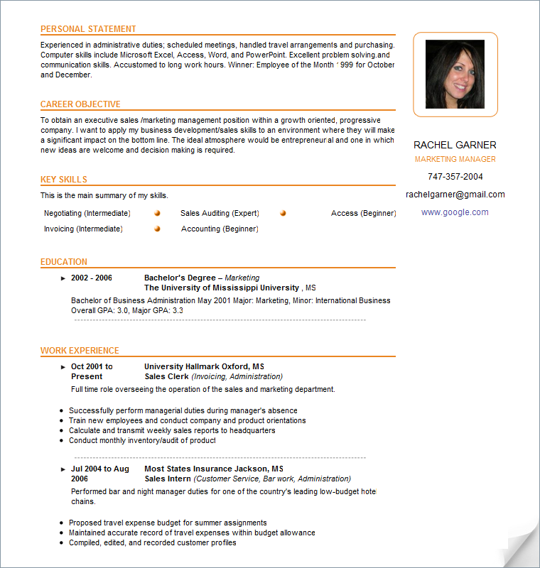 Resume Examples  Google Search  Business Writing