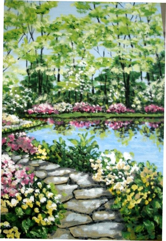 Azalea Garden Path Painting Original Art Floral By MARVINSTUDIO, $20.00  Great For Christmas