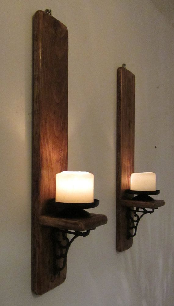 Pair Of Rustic Reclaimed Wood Wall Sconce Candle Holders With