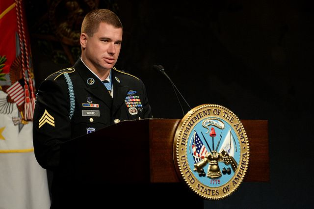 Medal of Honor recipient former U.S. Army Sgt. Kyle White speaks during his Hall of Heroes induction ceremony at the Pentagon in Washington, D.C., May 14, 2014. White was recognized for his actions during his deployment to Afghanistan in 2007 while serving with Chosen Company, 2nd Battalion (Airborne), 503rd Infantry Regiment, 173rd Airborne Brigade. (U.S. Army Photo by Sgt. Laura Buchta/Released) #USArmy
