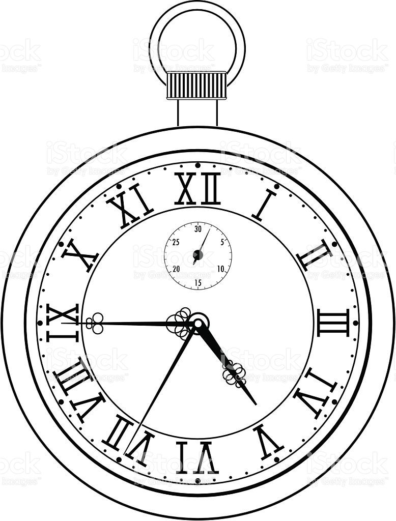 Pocket Watch With Roman Numerals Vector Illustration Isolated On Clock Tattoo Clock Tattoo Design Watch Tattoos