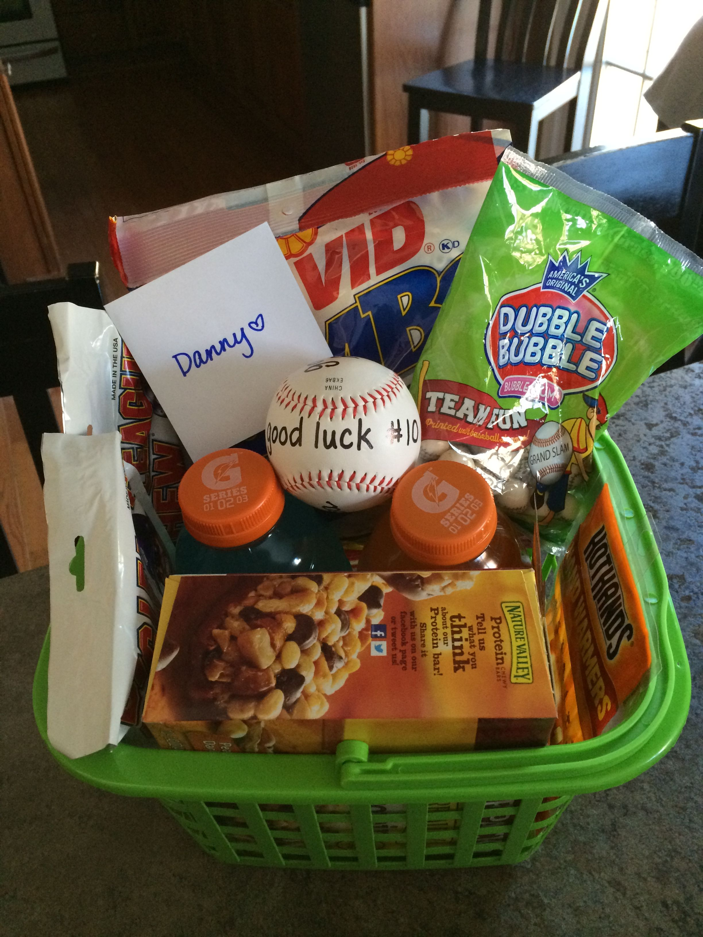 Baseball tryouts good luck basket 3 gift ideas pinterest baseball themed easter basket i love it negle Image collections