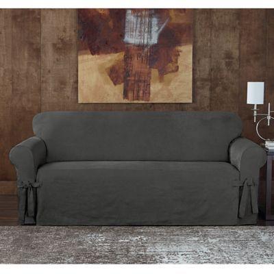 Designer Sueded Twill Sofa Slipcover