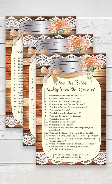 Bride know Groom Bridal Shower Game Rustic