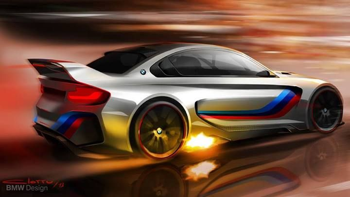 BMW Vision Gran Turismo render with flames