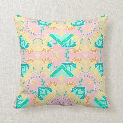 Floral mandala soft pastel pattern illustration throw pillow