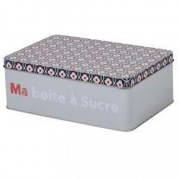 Boîte à Sucre Rectangulaire Grise Design Carreaux De Ciment