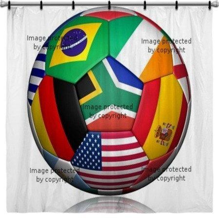 International Football Soccer Shower Curtain By VividHomeDecor, $99.97
