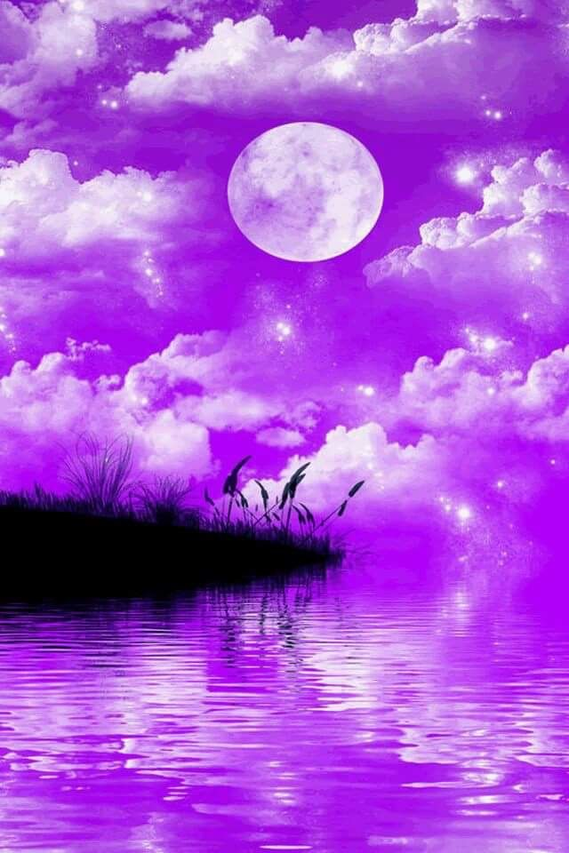 Good Night Purple Sky Beautiful Moon Shades Of Purple