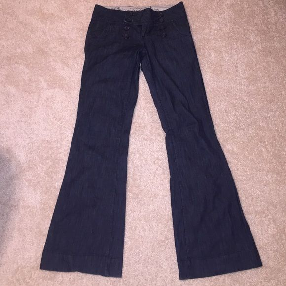 HIGH WAISTED DENIM TROUSERS!! The most comfortable and stylish pants  you will ever own! These literally match with everything! Perfect high waist fit and flattering shape. Can be dressed up or down has a little stretch to them as well . Zana Di Pants Trousers