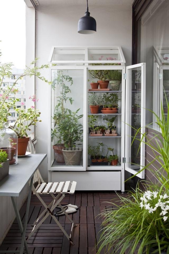 kleiner balkon ideen pflanzen holz fliesen tontopf gardening - balkon ideen blumenkasten gelander