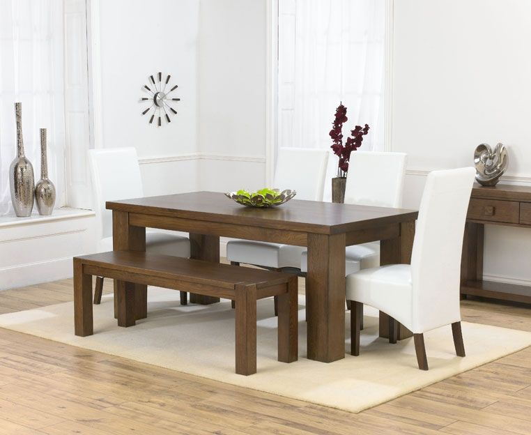 dining table bench oak