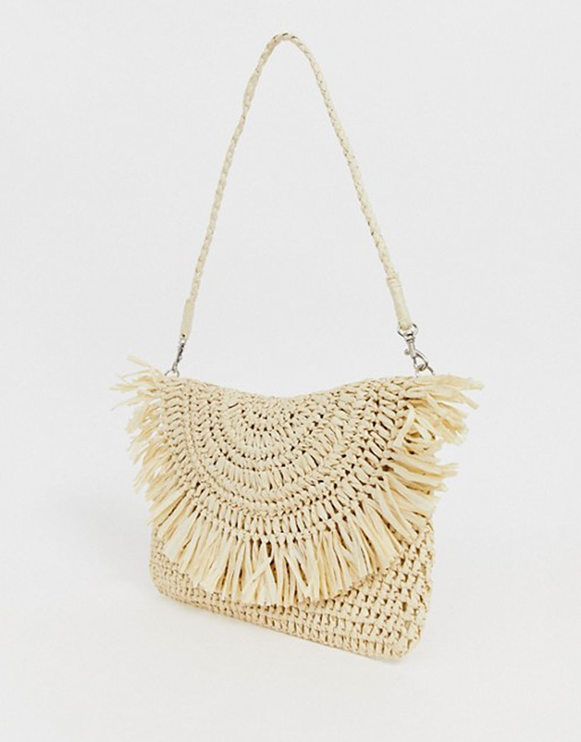 South Beach Exclusive frayed edge natural straw clutch bag