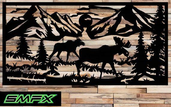 Large Moose Scene Metal Wall Art Rectangle Can Be A Railing Insert Or Just Wall Art Art Wall Art Metal Art