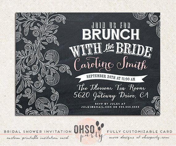 CHALK BRUNCH Custom Bridal Brunch Invitation Card BRIDAL SHOWER