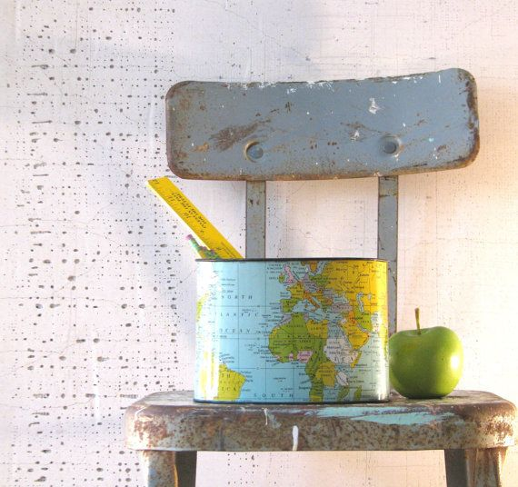world map metal pencil holder vintage crayon colored by tribute212, $16.00