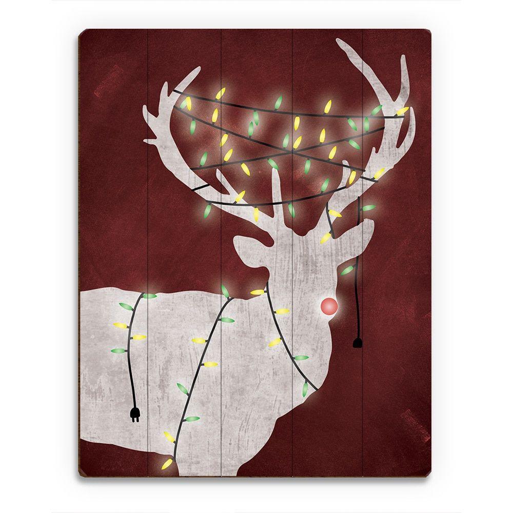 Horizon christmas light rudolphu printed wood wall art products