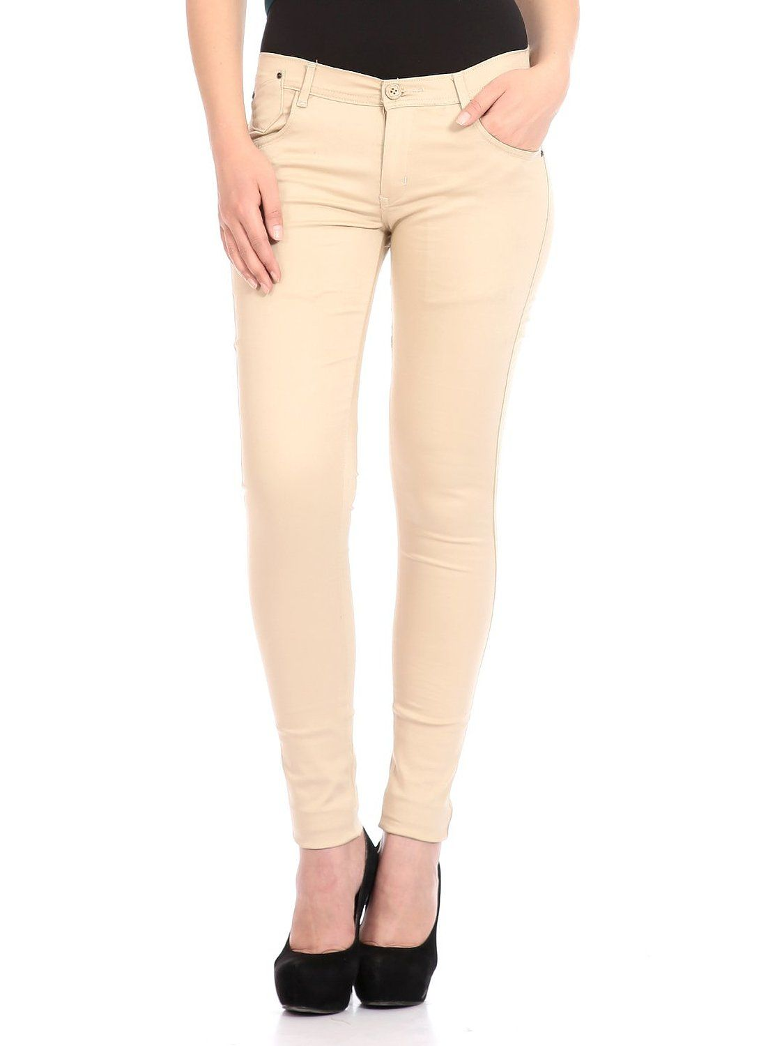 Flyjohn Beige Women's off-white Cotton Lycra Trousers Off-White