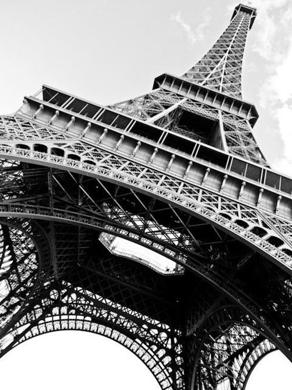 Black and White Photography, Eiffel Tower in Paris, France, Architecture Photography, Paris Wall Art, Paris Black and White Print